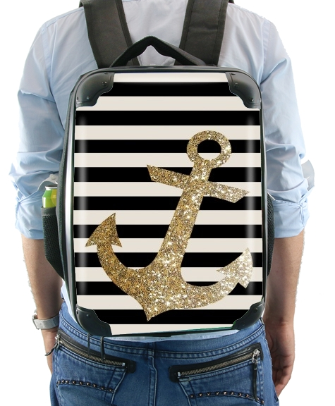 Sac à dos pour gold glitter anchor in black