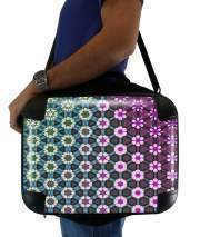 "Sacoche Ordinateur 15"" pour Abstract bright floral geometric pattern teal pink white"
