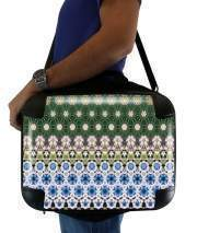 "Sacoche Ordinateur 15"" pour Abstract ethnic floral stripe pattern white blue green"