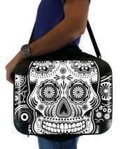 "Sacoche Ordinateur 15"" pour black and white sugar skull"