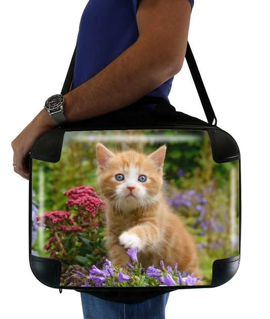 "Cute ginger kitten in a flowery garden, lovely and enchanting cat for Laptop briefcase 15"" / Notebook / Tablet"