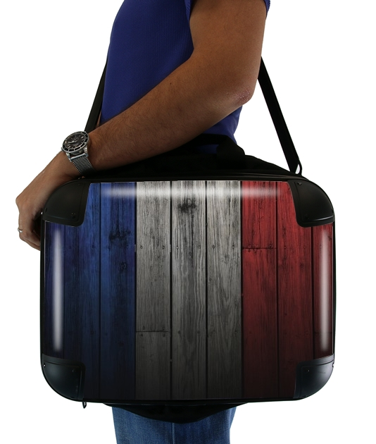 """Wooden French Flag for Laptop briefcase 15"""" / Notebook / Tablet"""