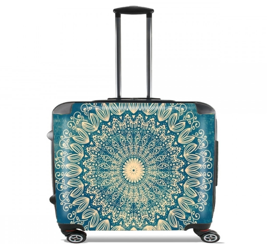 "Blue Organic boho mandala for Wheeled bag cabin luggage suitcase trolley 17"" laptop"