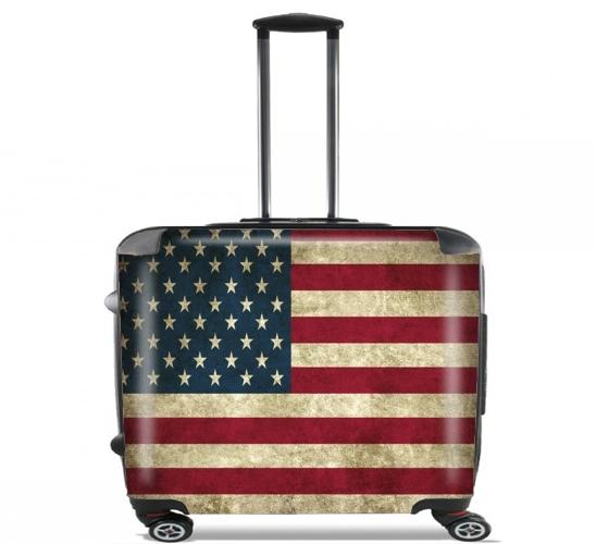 """Vintage Flagge USA für Rollentasche Handgepäck Koffer Trolley 17"""" laptop"""