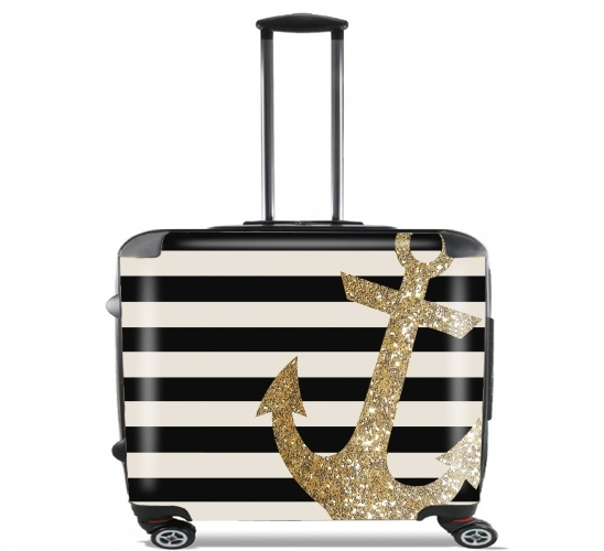 gold glitter anchor in black voor Pilotenkoffer