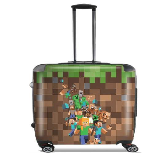 """Minecraft Creeper Forest for Wheeled bag cabin luggage suitcase trolley 17"""" laptop"""