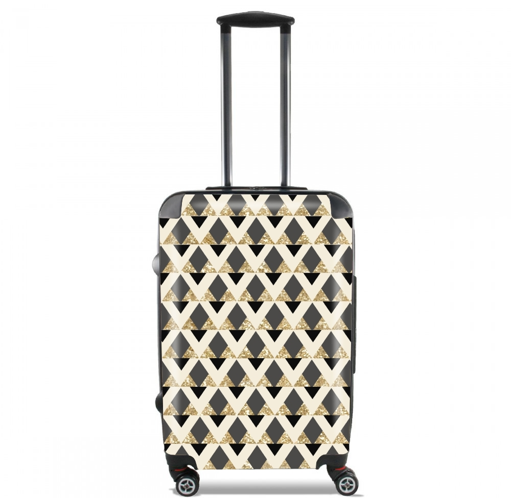 Glitter Triangles in Gold Black And Nude for Lightweight Hand Luggage Bag - Cabin Baggage