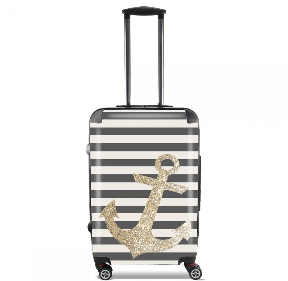 gold glitter anchor in black voor Handbagage koffers